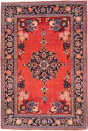 """Hand Knotted Iran Kashan 3'7"""" x 5'4"""" Rust Rug"""