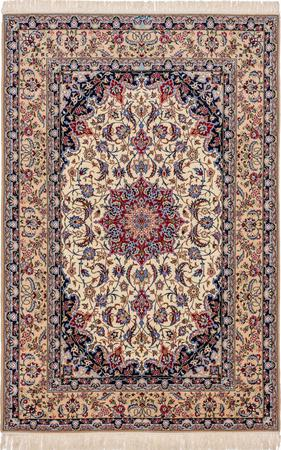 """Hand Knotted Iran Isfahan 5'2"""" x 7'10"""" Ivory Rug"""