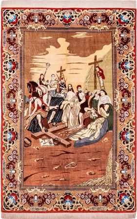 """Hand Knotted Iran Qum 4'5"""" x 6'8"""" Rust Rug"""