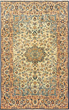 """Hand Knotted Iran Isfahan 3'6"""" x 5'6"""" Ivory Rug"""