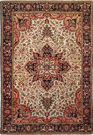 "Hand Made Iran Heriz 12'10"" x 18'11"" Ivory Rug"