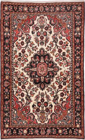 Hand Knotted Iran Hamadan 5' x 8' Ivory Rug