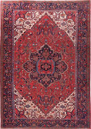 "Hand Made Iran Heriz 9' x 12'11"" Rust Rug"